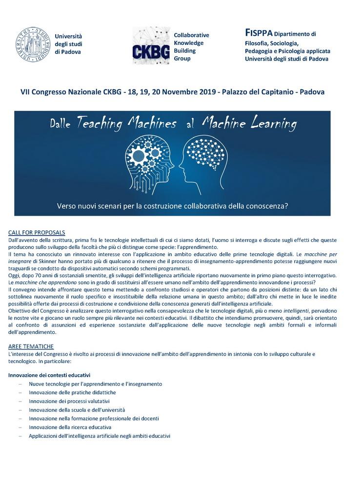 """VII Congresso Nazionale """"Dalle Teaching Machines al Machine Learning"""" – 18-20 novembre, Padova"""