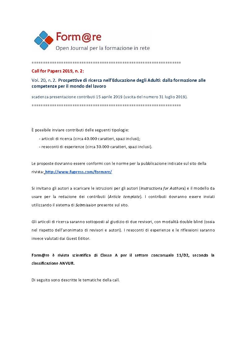"""Call for papers rivista """"Form@re"""" su """"Prospettive di ricerca nell'Educazione degli Adulti. Dalla formazione alle competenze per il mondo del lavoro"""" – 15 aprile"""