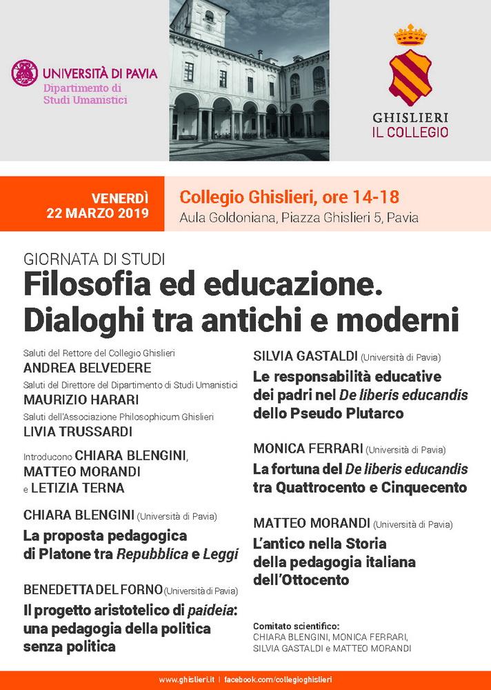 """Giornata di studi """"Filosofia ed educazione. Dialoghi tra antichi e moderni"""" – 22 marzo, Pavia"""