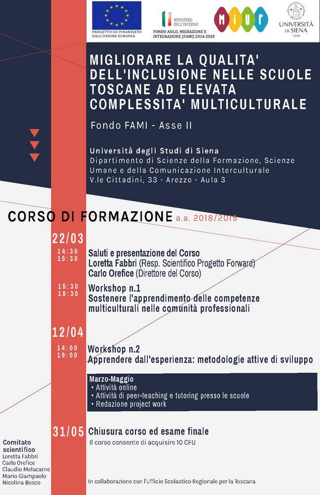 """Corso di formazione """"Migliorare la qualità dell'inclusione nelle scuole toscane ad elevata complessità multiculturale (Fondo FAMI – Asse II)"""" – marzo-maggio, Arezzo"""