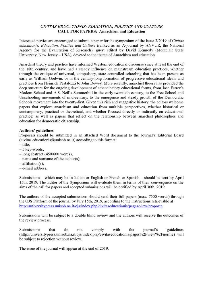"""Call for papers """"Civitas Educationis"""" per il Symposium """"Anarchismo ed educazione"""""""