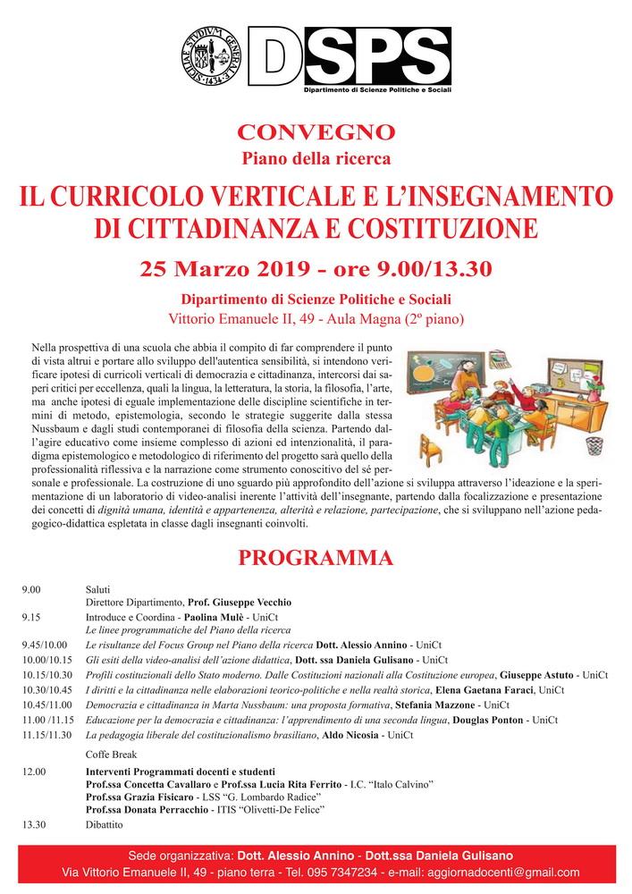 """Convegno """"Il curricolo verticale e l'insegnamento di Cittadinanza e Costituzione"""" – 25 marzo, Catania"""