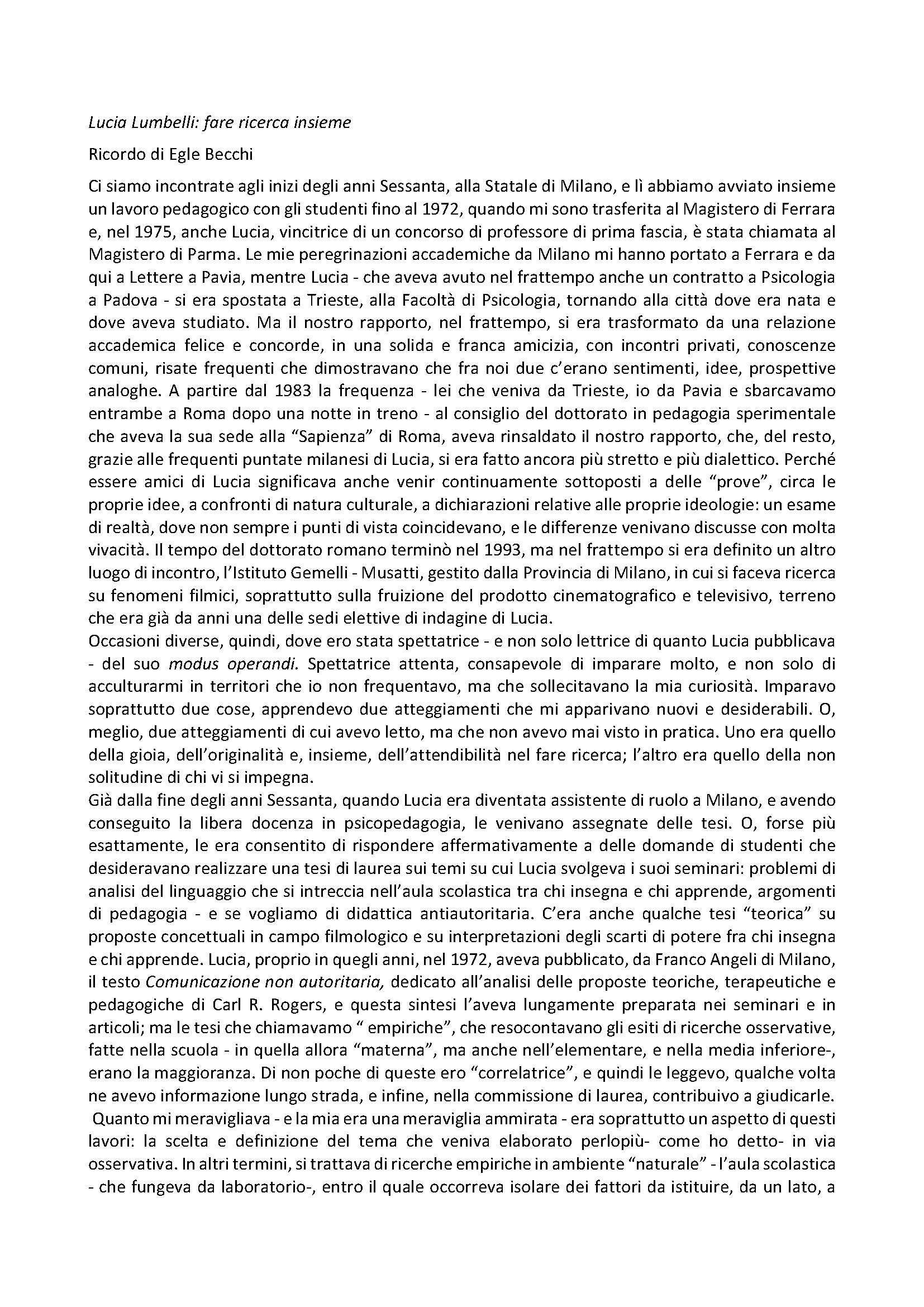2019-03-18 – La scomparsa di Lucia Lumbelli