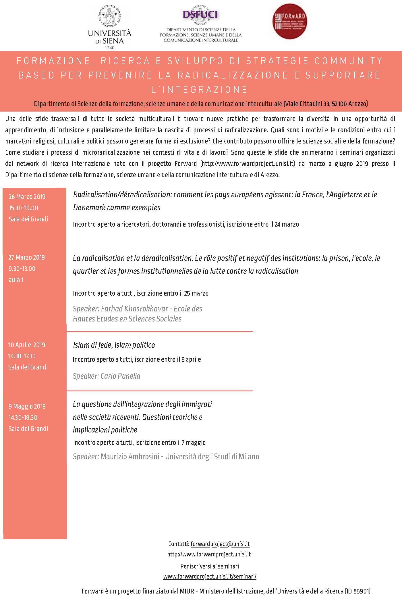 """Seminari """"Formazione, ricerca e sviluppo di strategie community based per prevenire la radicalizzazione e supportare l'integrazione"""" – marzo-giugno, Arezzo"""