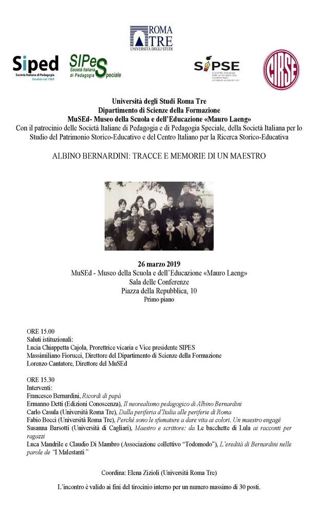 """Giornata di studio """"Albino Bernardini. Tracce e memorie di un maestro"""" – 26 marzo, Roma"""