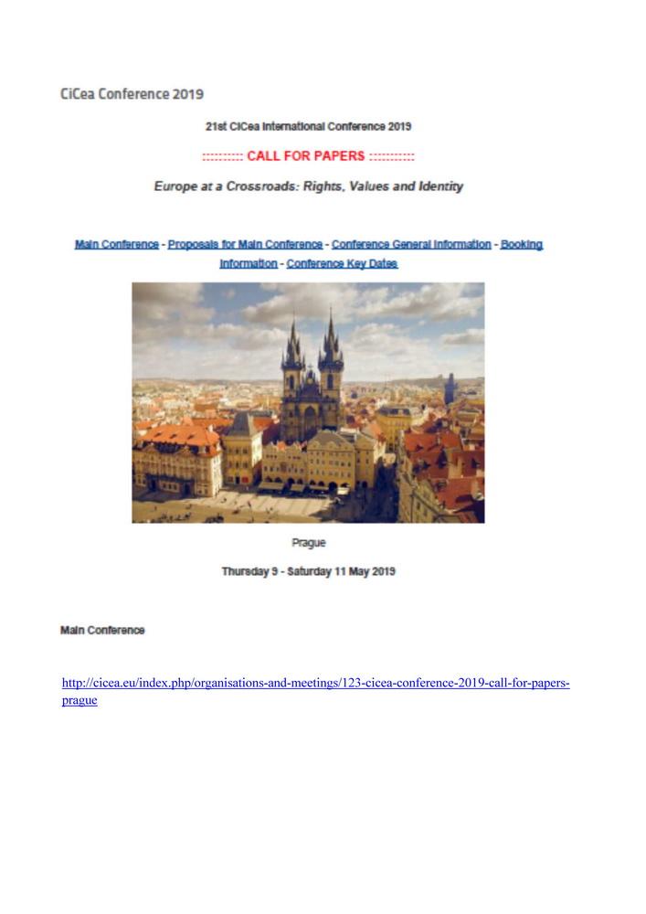 """XXI conferenza internazionale """"Europe at a Crossroads. Rights, Values and Identity"""" – 9-11 maggio, Praga (Repubblica Ceca)"""