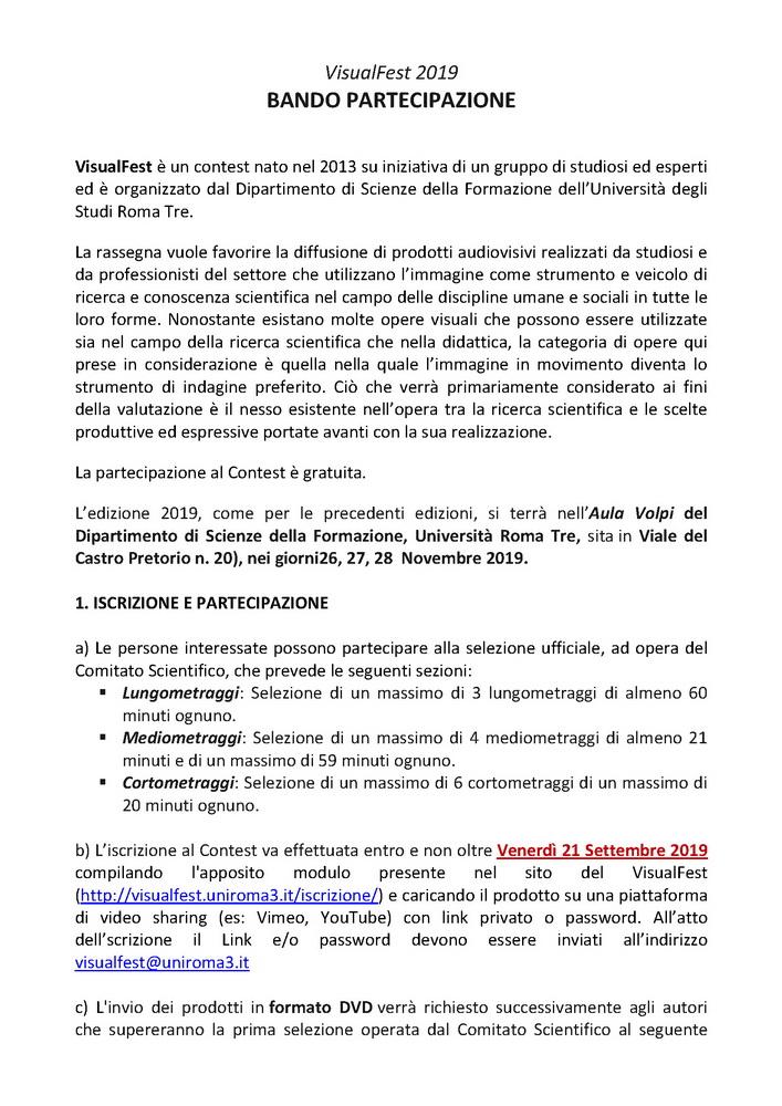 """Manifestazione di espressione e ricerca nel/del Visuale """"VisualFest 2019"""" – 26-28 novembre, Roma"""