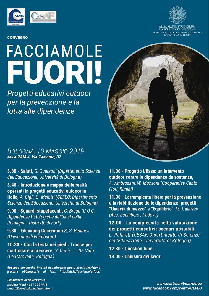 """Convegno """"Facciamole fuori! Progetti educativi outdoor per la prevenzione e la lotta alle dipendenze"""" – 10 maggio, Bologna"""