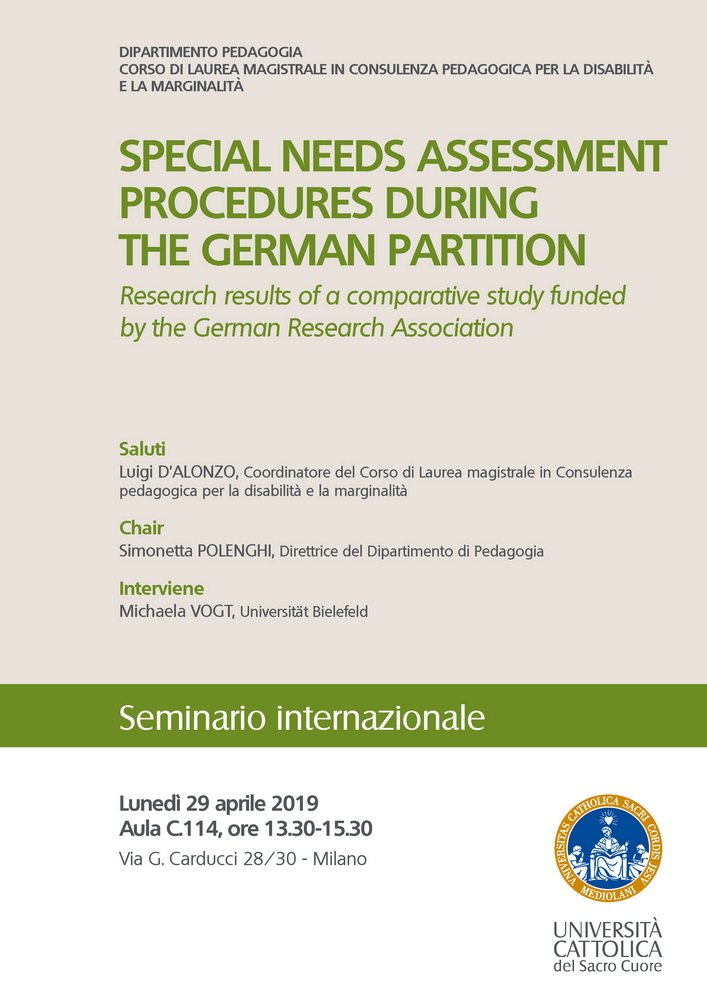 """Seminario internazionale """"Special needs assessment procedures during the german partition"""" – 29 aprile, Milano"""