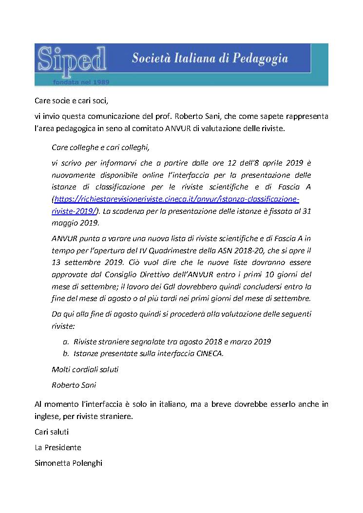2019-04-09 – Apertura ANVUR istanza riviste A e scientifiche