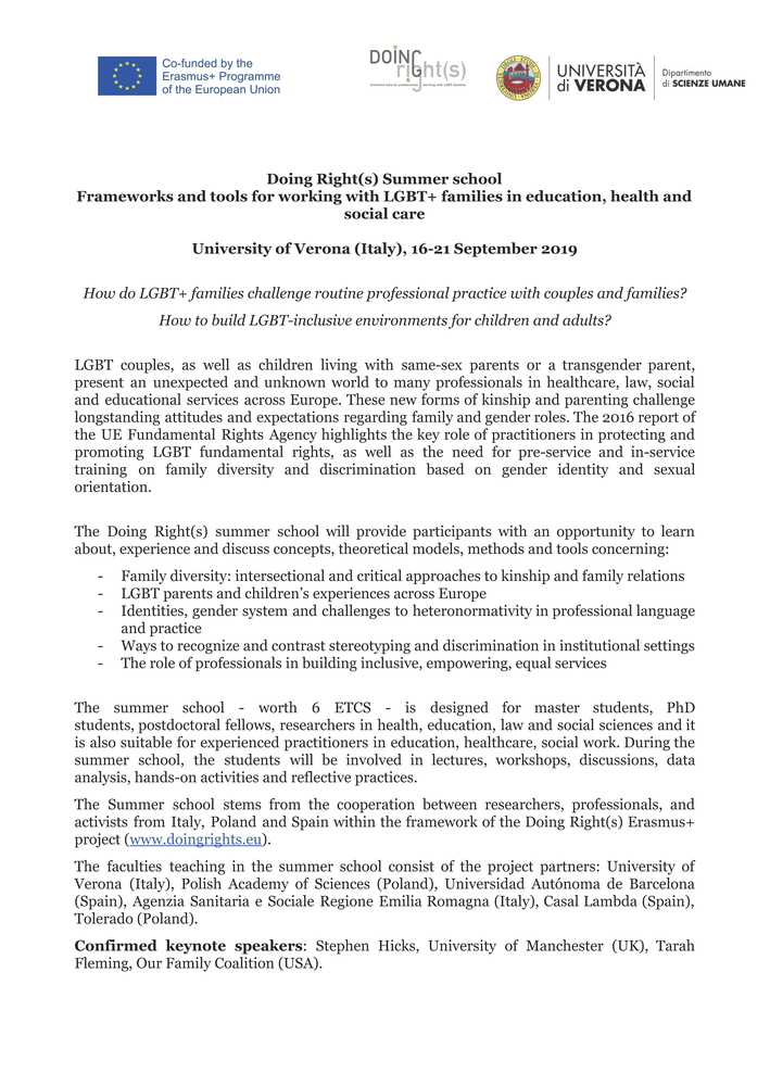 """Summer school """"Doing Right(s). Frameworks and tools for working with LGBT+ families in education, health and social care"""" – 16-21 settembre, Verona"""