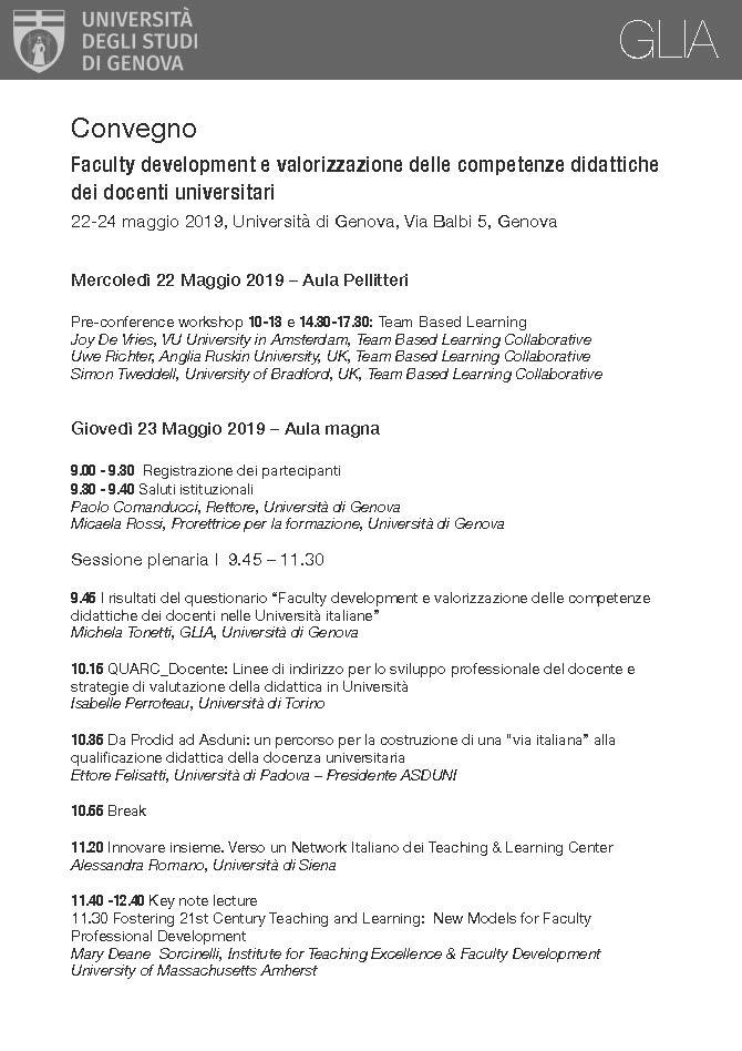 """Convegno """"Faculty Development e valorizzazione delle competenze didattiche dei docenti universitari"""" – 22-24 maggio, Genova"""