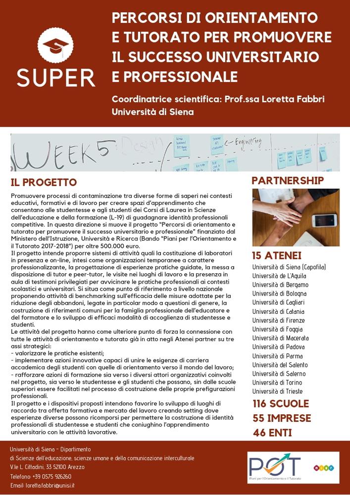 """Progetto """"SUPER. Percorsi di orientamento e tutorato per promuovere il successo universitario e professionale"""""""