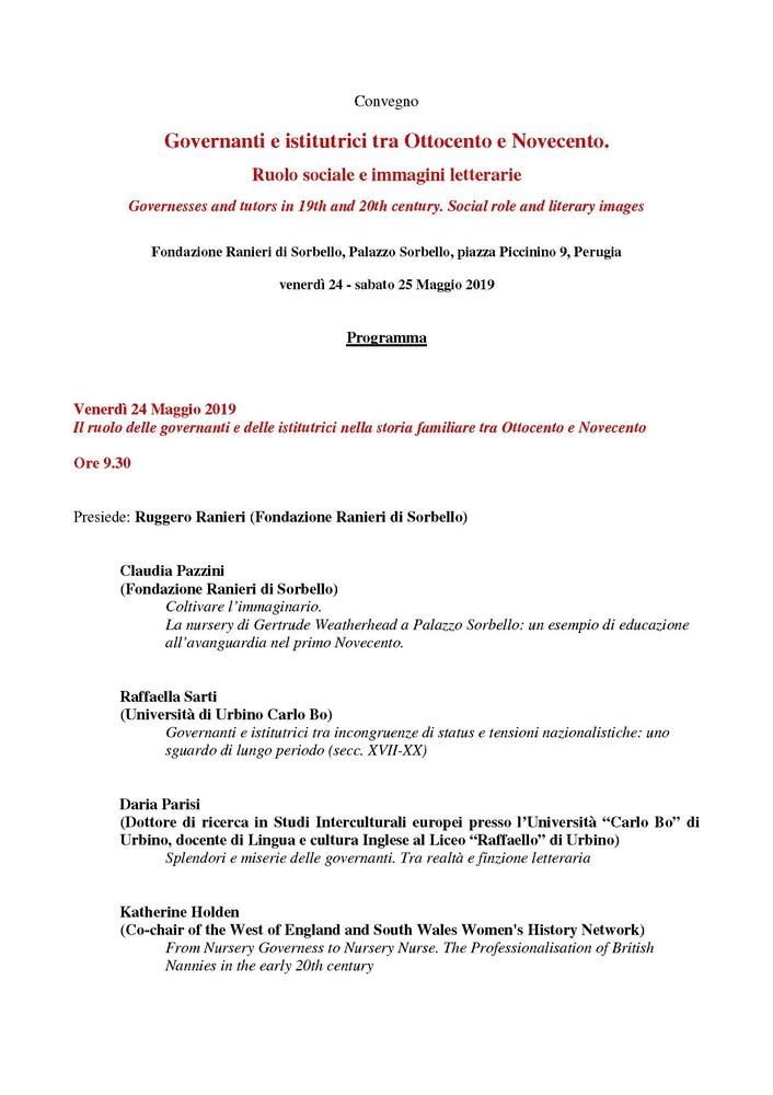 """Convegno """"Governanti e istitutrici tra Ottocento e Novecento. Ruolo sociale e immagini letterarie"""" – 24-25 maggio, Perugia"""