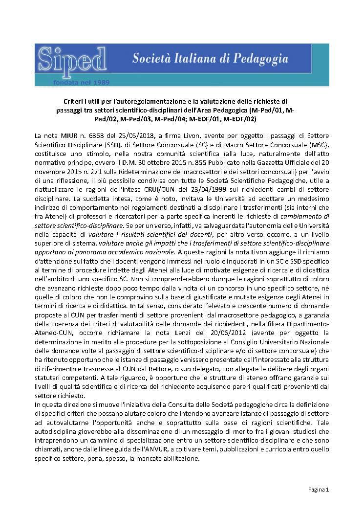2019-05-06 – Criteri passaggi SSD area pedagogica