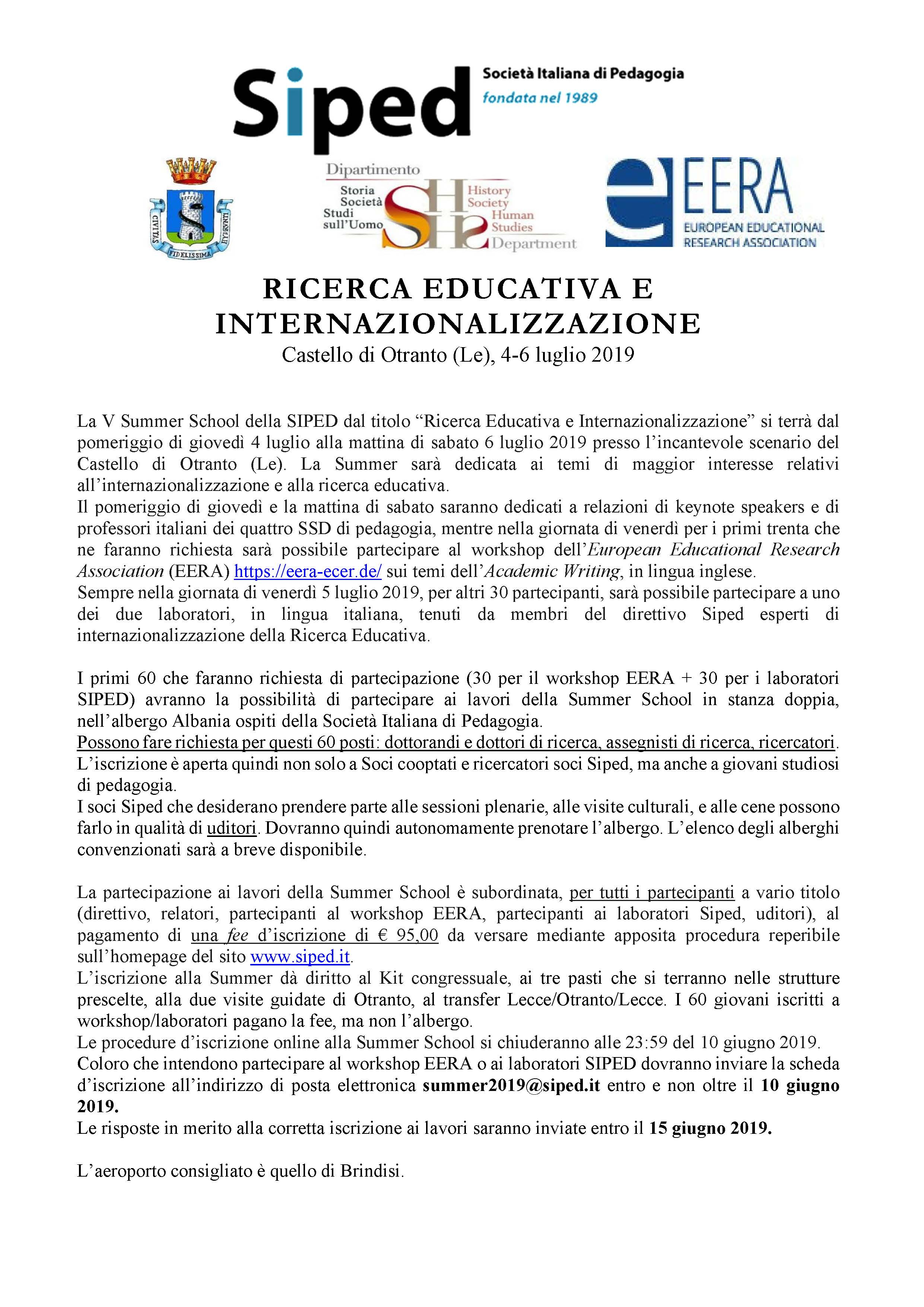 SIPED - Summer School 2019 - Home Page - Pagina 1