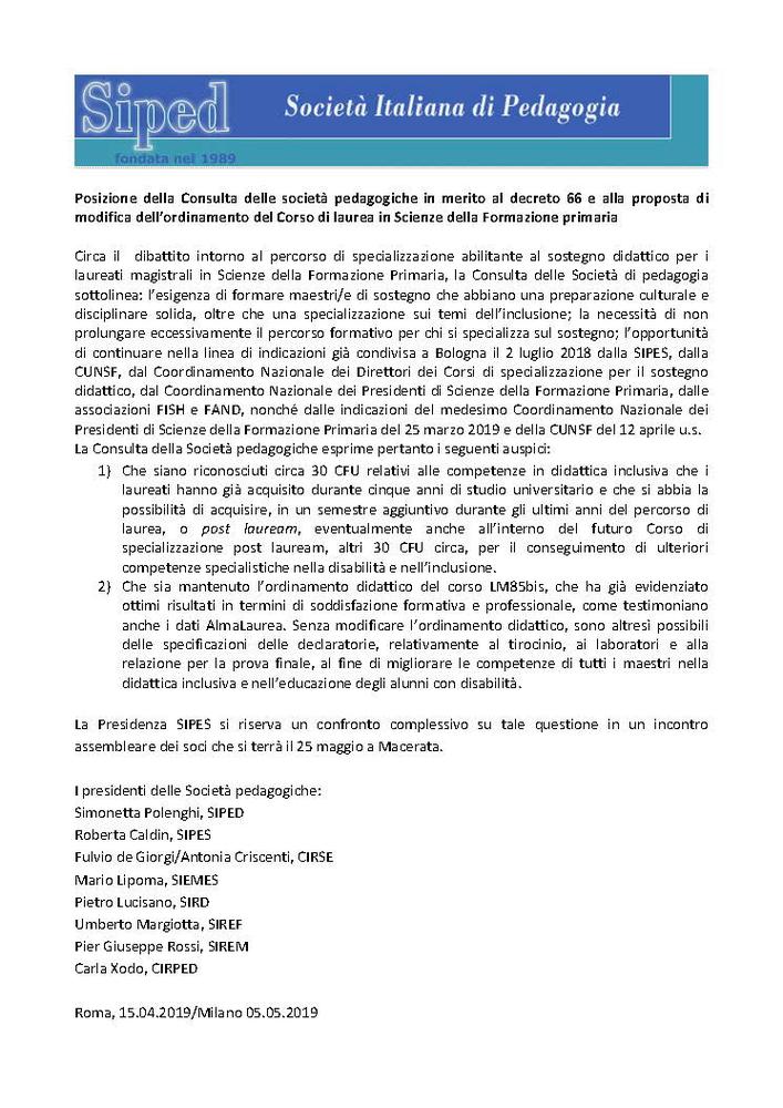 2019-05-11 – Consulta società pedagogiche Decreto 66 Formazione Primaria