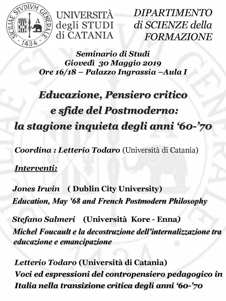 """Seminario internazionale """"Educazione, Pensiero critico e sfide del Postmoderno. La stagione inquieta degli anni '60-'70"""" – 30 maggio, Catania"""