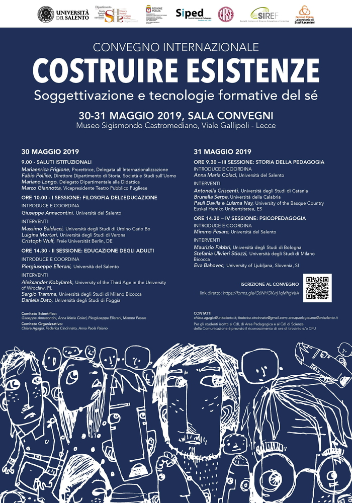 """Convegno internazionale """"Costruire esistenze. Soggettivazione e tecnologie formative del sé"""" – 30-31 maggio, Lecce"""