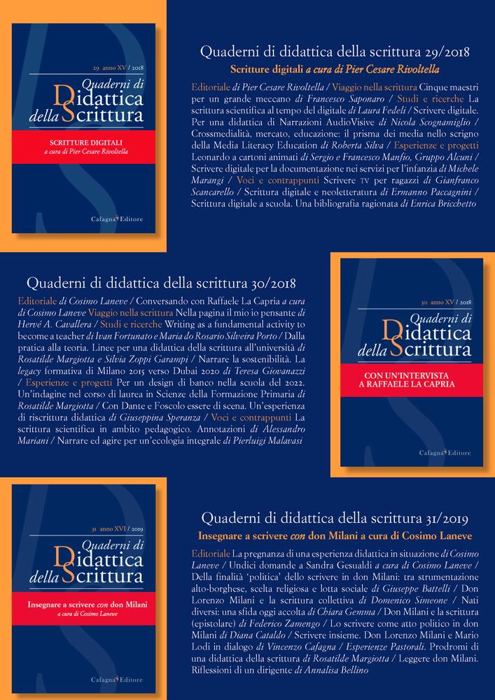 """Presentazione ultime pubblicazioni rivista """"Quaderni di didattica della scrittura"""""""