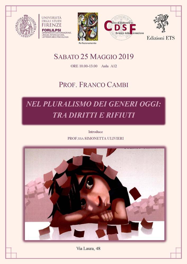 """Conferenza """"Nel pluralismo dei generi oggi. Tra diritti e rifiuti"""" – 25 maggio, Firenze"""