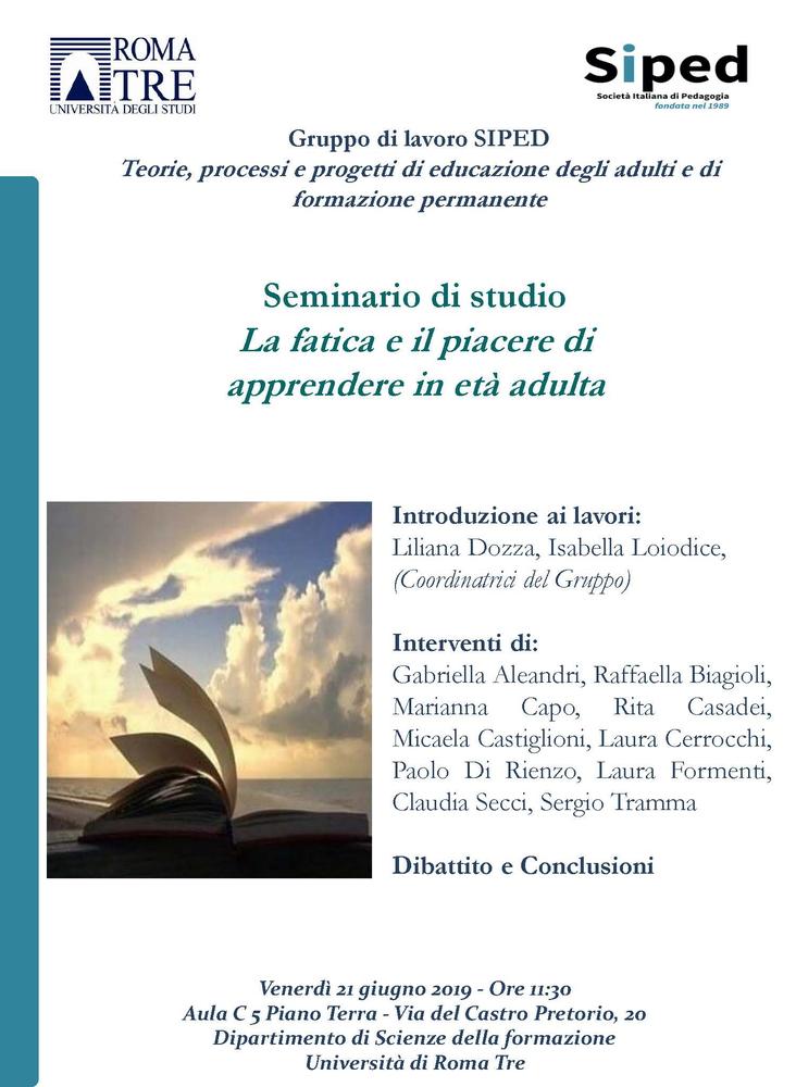 """Seminario """"La fatica e il piacere di apprendere in età adulta"""" – 21 giugno, Roma"""