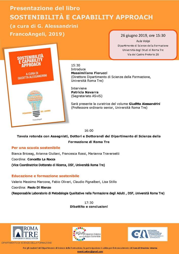 """Presentazione volume """"Sostenibilità e Capability Approach"""" – 26 giugno, Roma"""