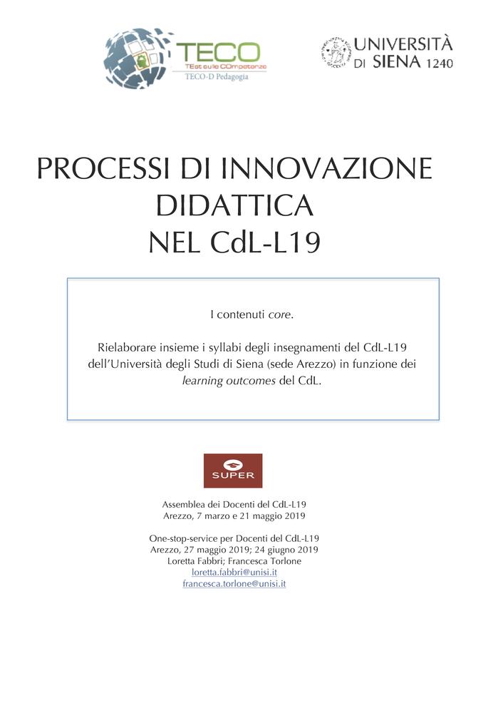 """Azioni di innovazione didattica """"Processi di innovazione didattica del CdL-L19"""""""