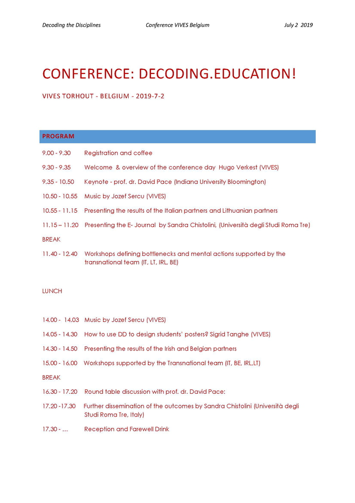 """Conferenza internazionale """"Decoding the Disciplines in European Institutions of Higher Education. Intercultural and Interdisciplinary Approach to Teaching and Learning"""" – 2 luglio, Torhout (Belgio)"""