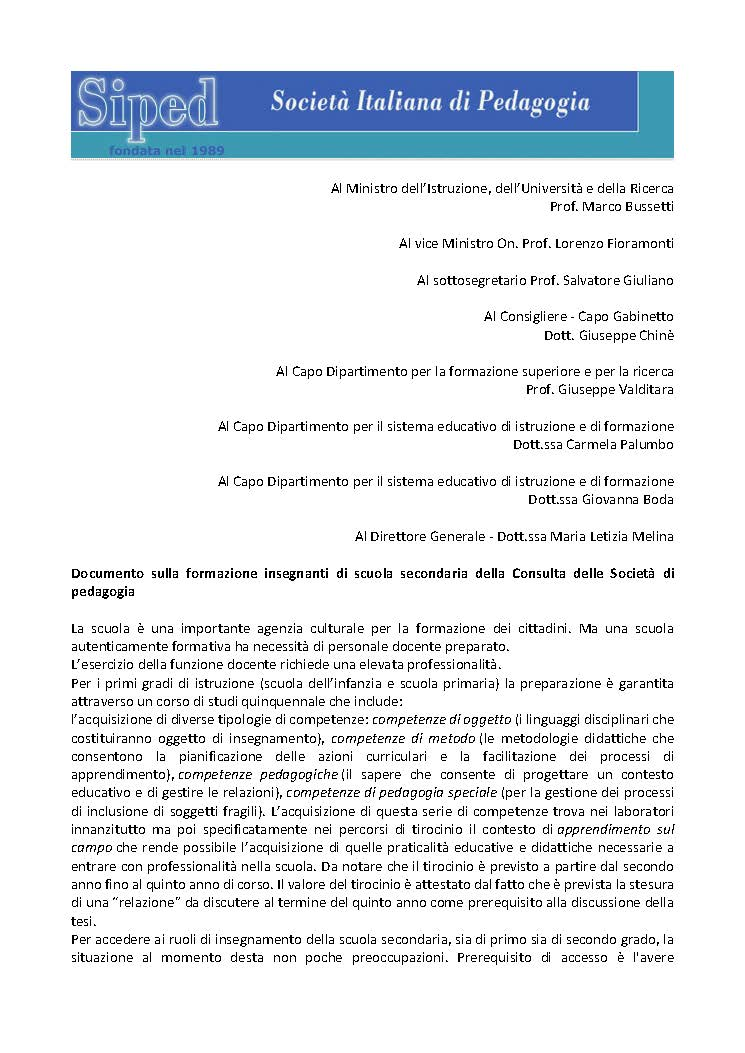 2019-05-30 – Documento Consulta pedagogia su Formazione insegnanti scuola secondaria
