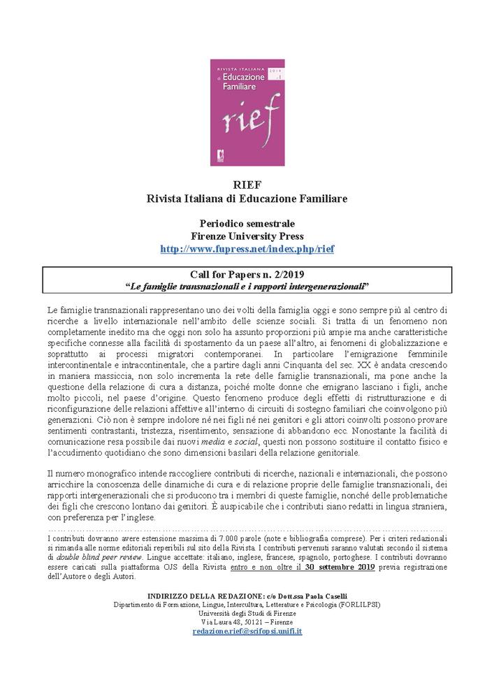 """Call for papers """"Rivista italiana di educazione familiare"""" sul tema """"Le famiglie transnazionali e i rapporti intergenerazionali"""""""