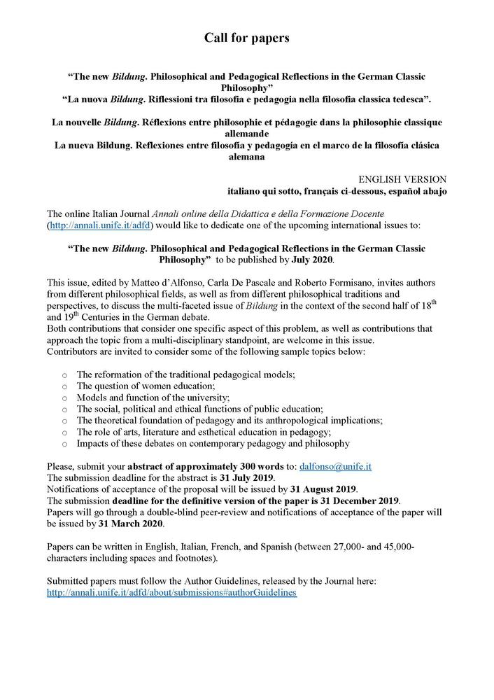 """Call for Papers """"Annali online della Didattica e della Formazione Docente"""" sul tema """"La nuova Bildung. Riflessioni tra filosofia e pedagogia nella filosofia classica tedesca"""""""