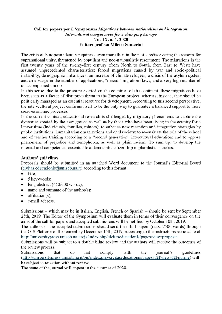"""Call for papers """"Civitas Educationis"""" per il Symposium """"Migrations between nationalism and integration"""""""