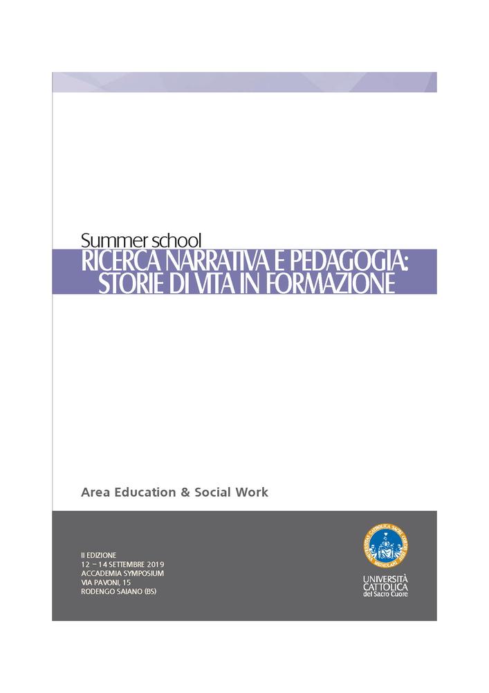"""Summer School """"Ricerca Narrativa e Pedagogia. Storie di vita in formazione"""" – 12-14 settembre, Rodengo Saiano (Brescia)"""