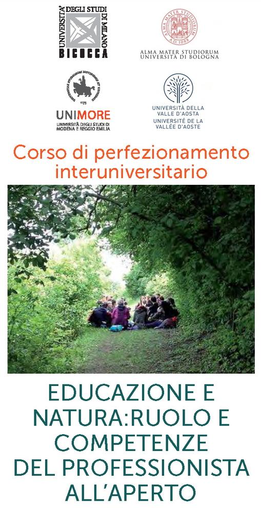 """Corso di perfezionamento interuniversitario """"Educazione e natura. Ruolo e competenze del professionista all'aperto"""" – Novembre 2019 – Giugno 2020"""