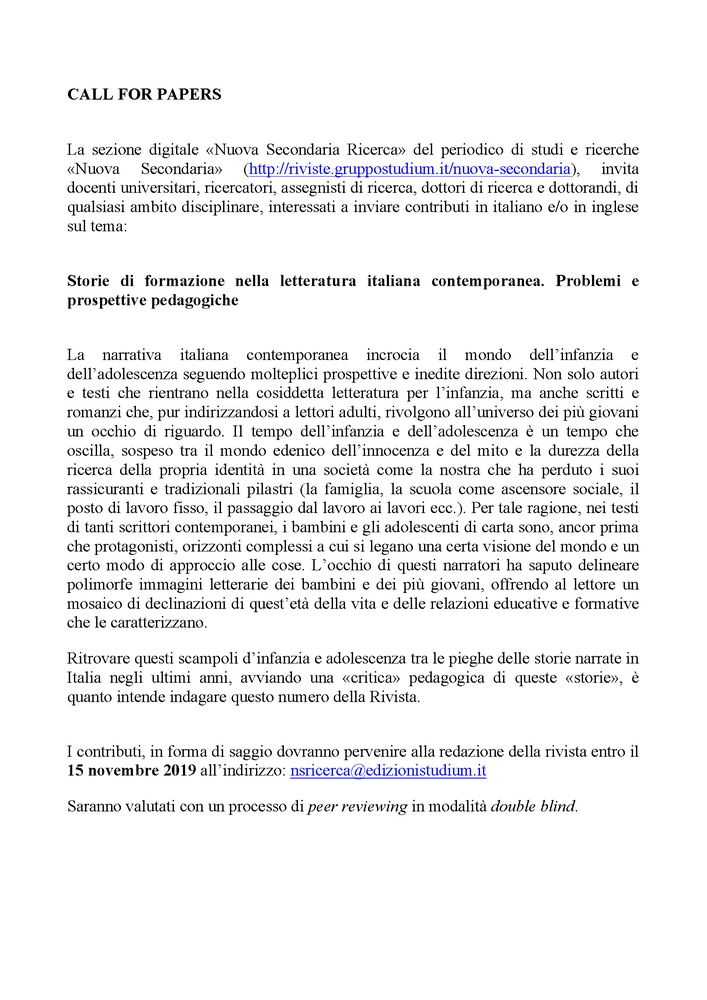 """Call della rivista """"Nuova secondaria ricerca"""" sul tema """"Storie di formazione nella letteratura italiana contemporanea. Problemi e prospettive pedagogiche"""""""