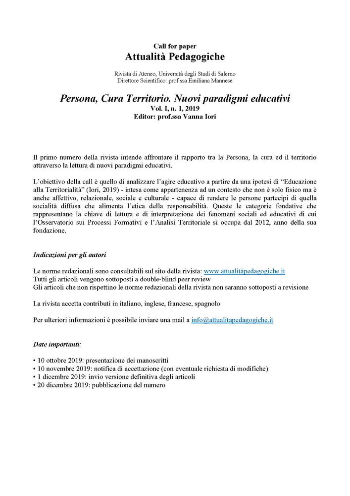 """Call della rivista """"Attualità Pedagogiche"""" sul tema """"Persona, Cura Territorio. Nuovi paradigmi educativi"""""""