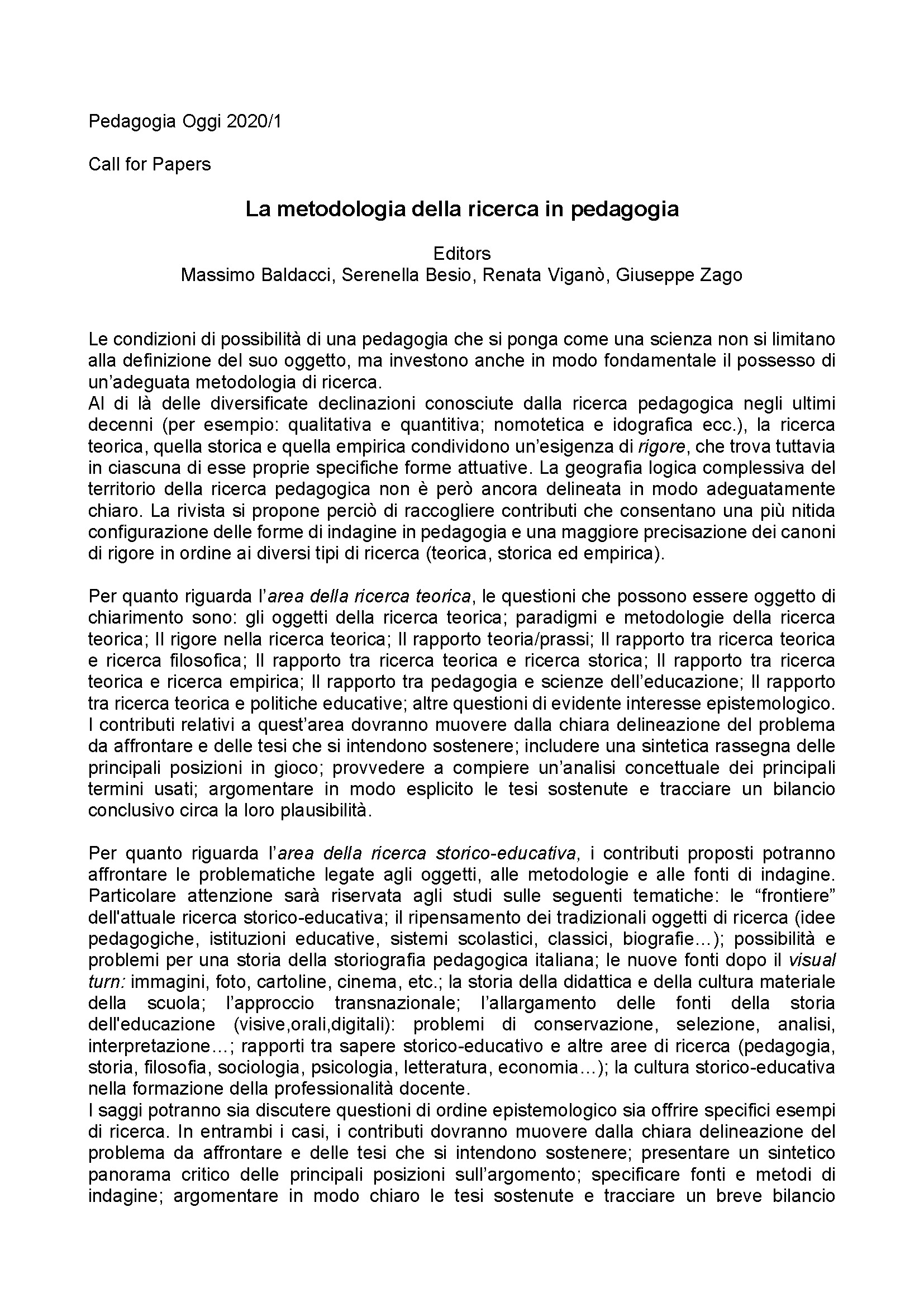 2019-09-08 – Call Pedagogia Oggi 2020/1