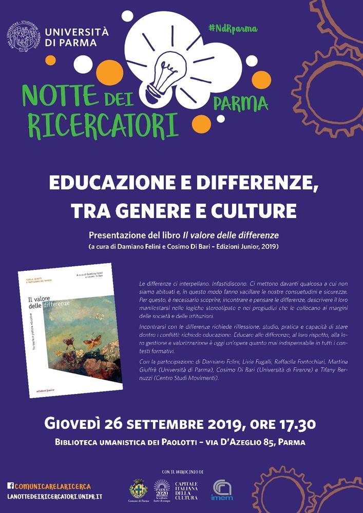 """Educazione e differenze, tra genere e culture. Presentazione del volume """"Il valore delle differenze. Tra teorie e pratiche educative"""" – 26 settembre, Parma"""