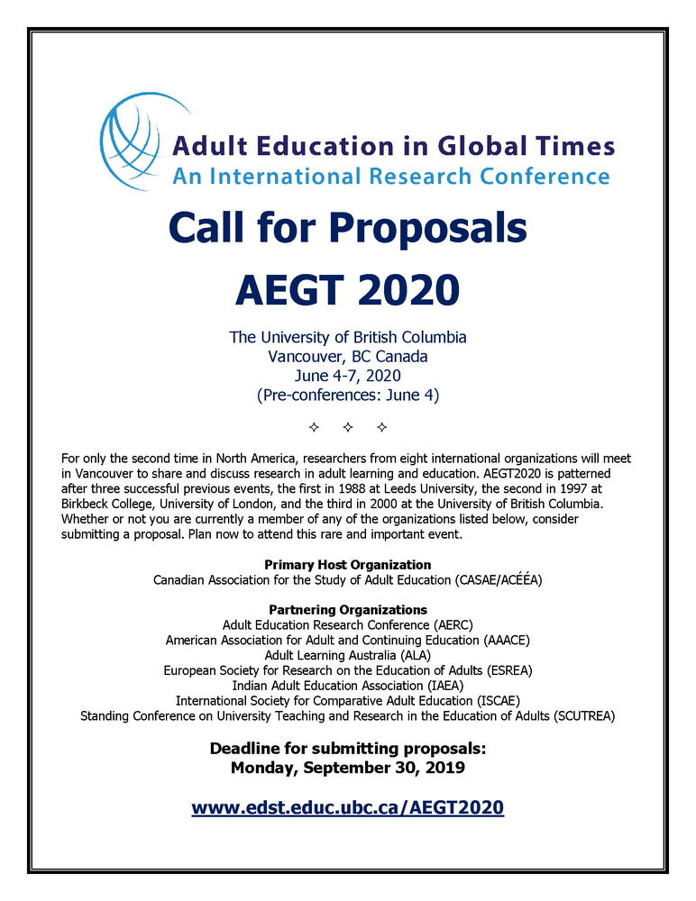 """Conferenza internazionale globale AEGT2020 """"Adult Education in Global Times. An International Research Conference"""" – 4-7 giugno 2020, Vancouver (Canada)"""