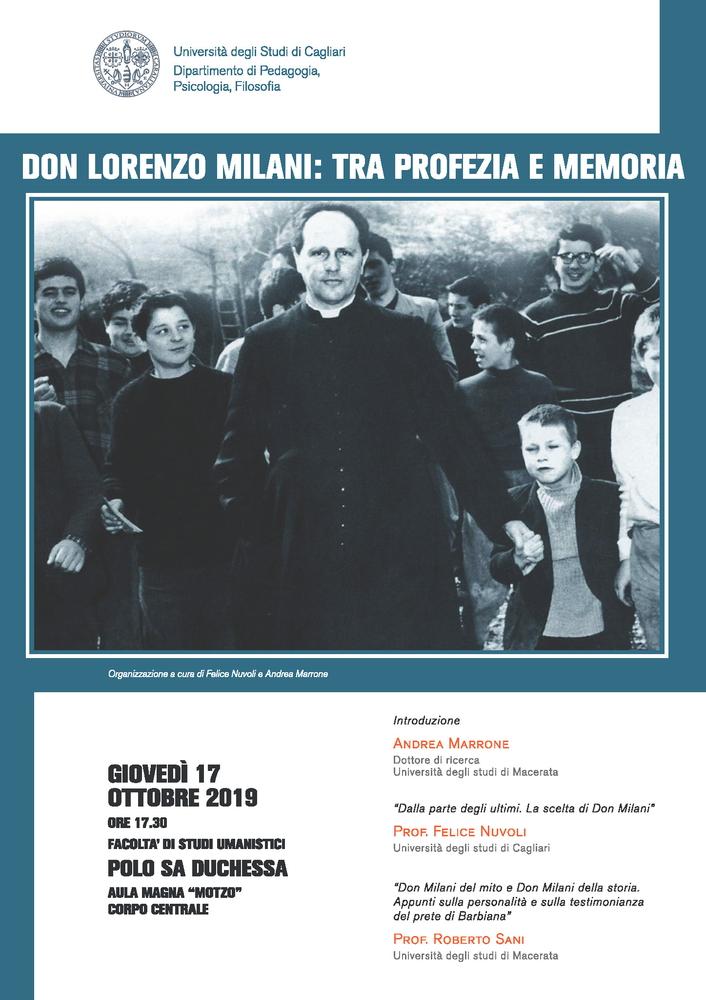 """Seminario """"Don Lorenzo Milani. Tra profezia e memoria"""" – 17 ottobre, Cagliari"""