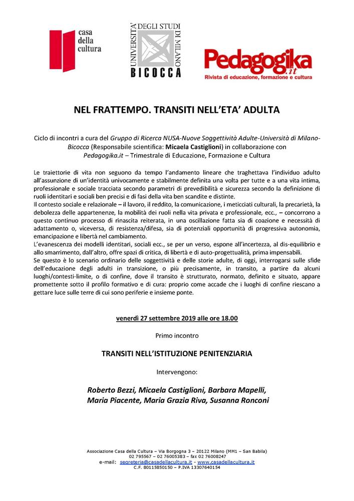 """Ciclo di seminari """"Nel frattempo. Transiti nell'età adulta"""" – dal 27 settembre, Milano"""
