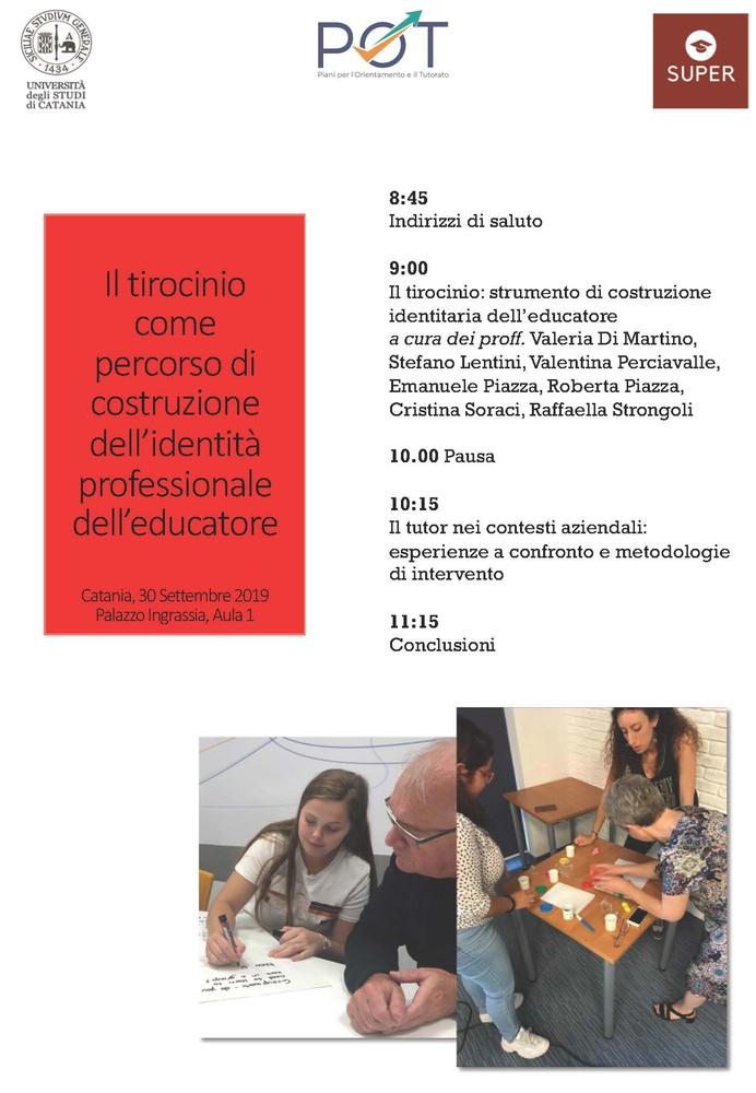 """Seminario """"Il tirocinio come percorso di costruzione dell'identità professionale dell'educatore"""" – 30 settembre, Catania"""