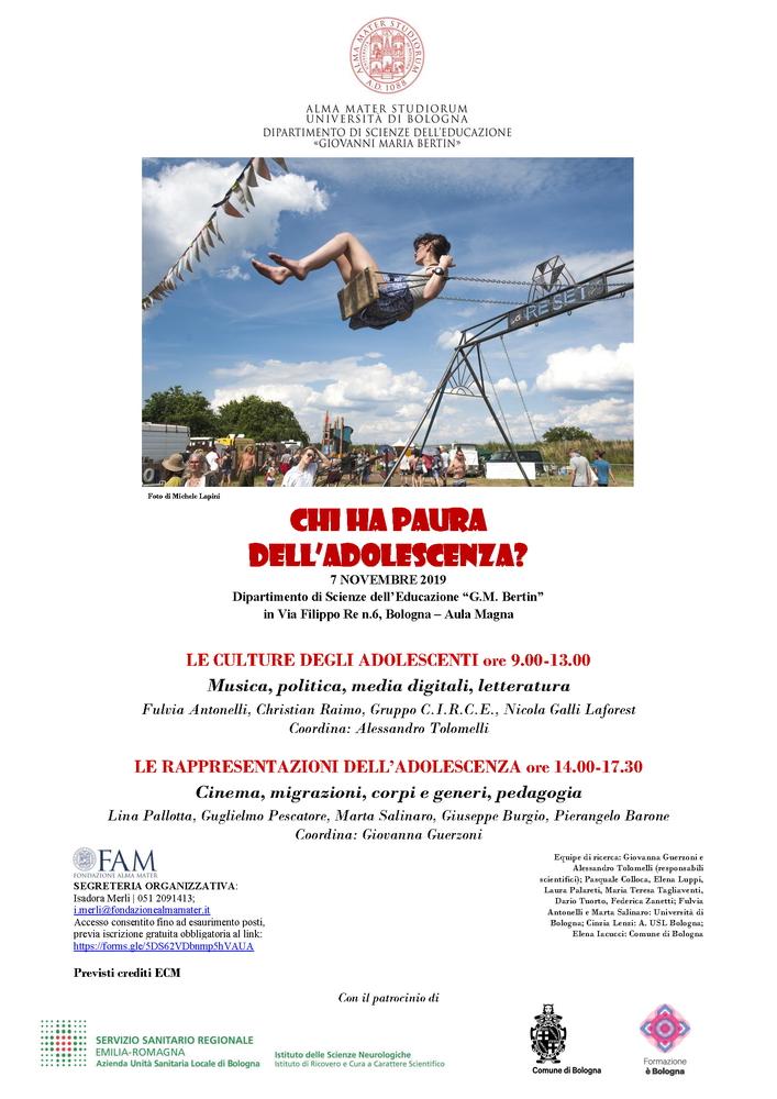 """Convegno """"Chi ha paura dell'adolescenza?"""" – 7 novembre, Bologna"""