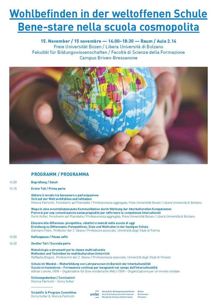 """Seminario """"Bene-stare nella scuola cosmopolita / Wohlbefinden in der weltoffenen Schule"""" – 15 novembre, Bressanone"""
