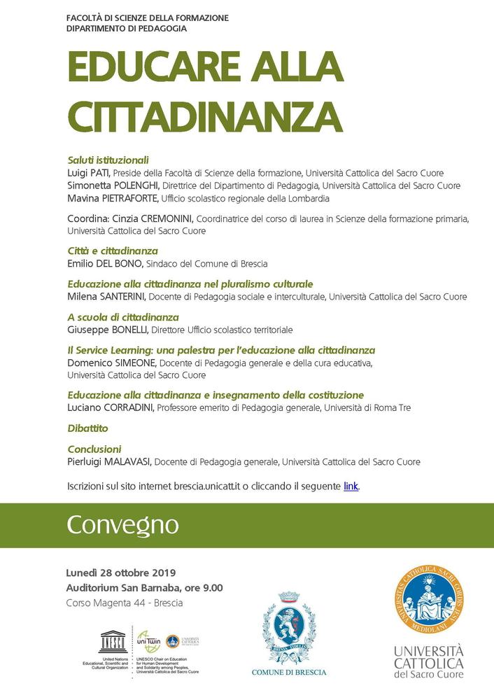 """Convegno """"Educare alla cittadinanza"""" – 28 ottobre, Milano"""