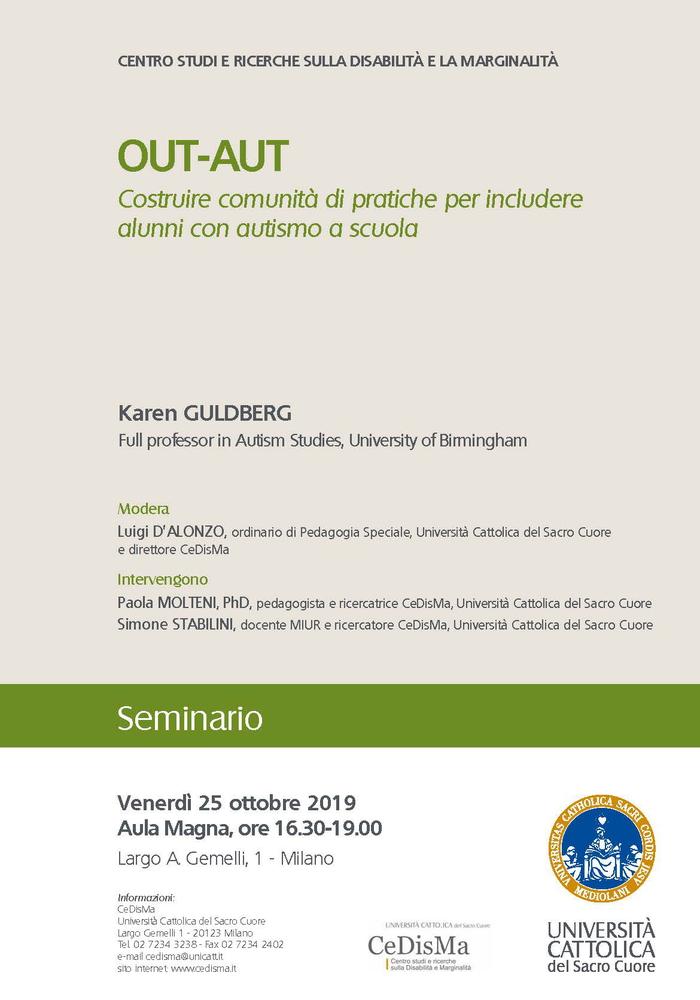 """Seminario """"OUT-AUT. Costruire comunità di pratica per includere alunni con autismo a scuola"""" – 25 ottobre, Milano"""