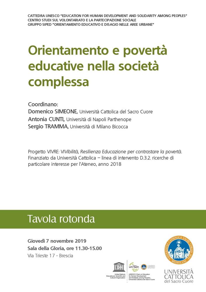 """Tavola rotonda """"Orientamento e povertà educative nella società complessa"""" – 7 novembre, Brescia"""