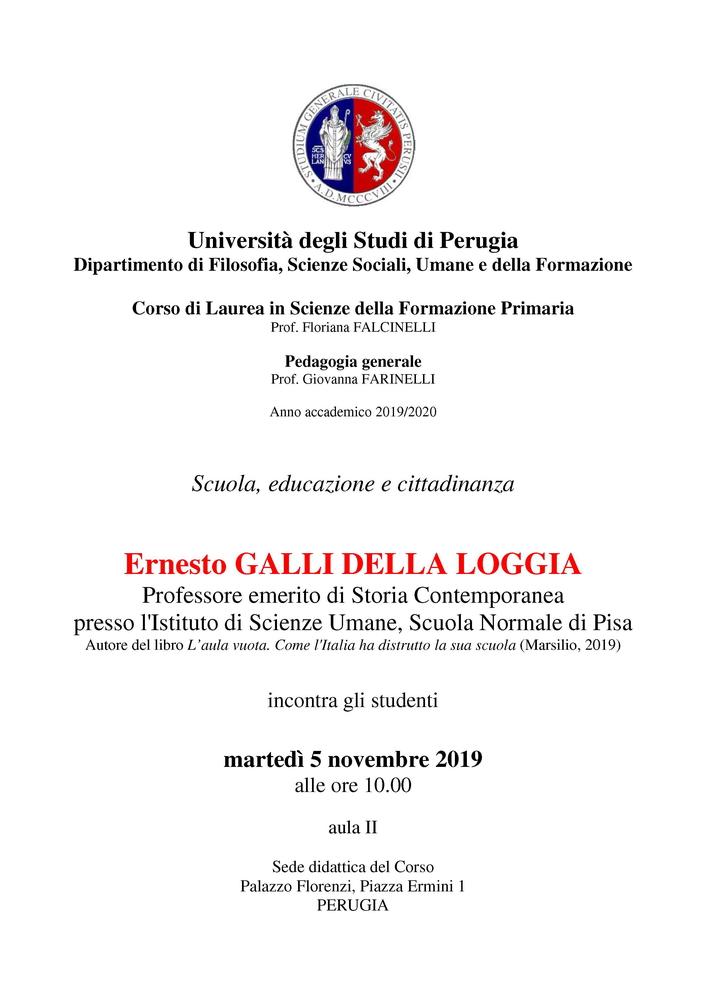 """Evento """"Scuola, educazione e cittadinanza"""" – 5 novembre, Perugia"""