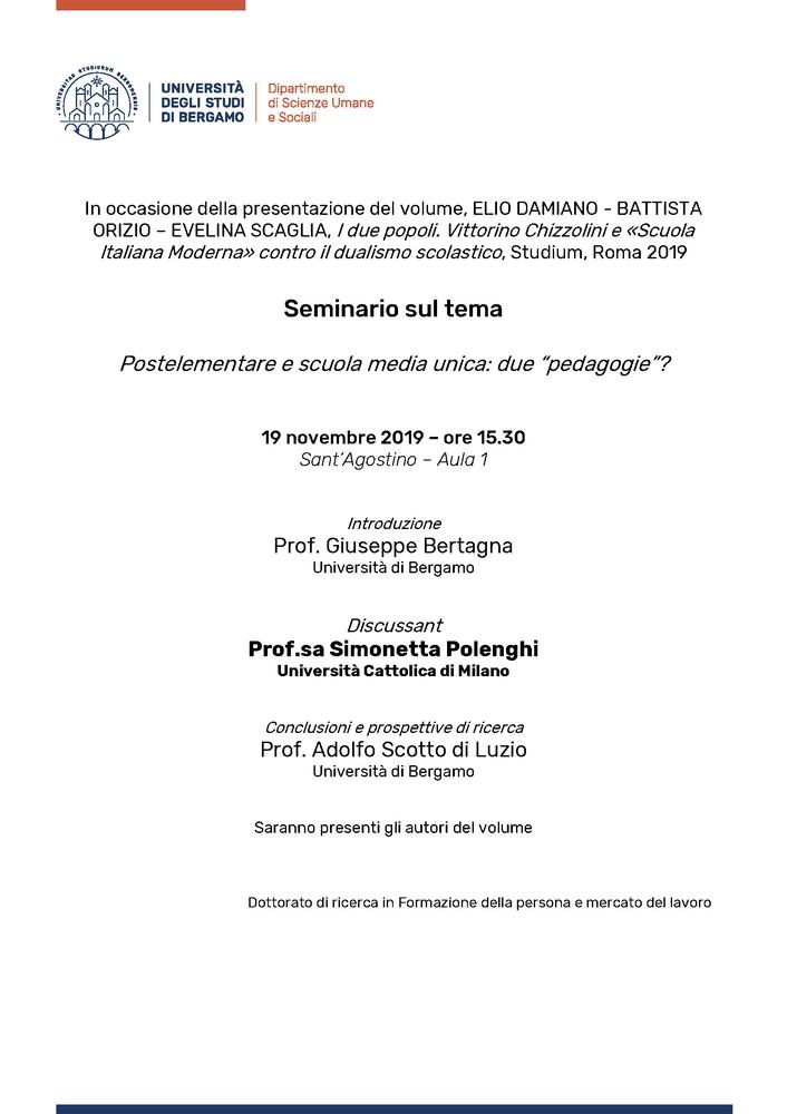 """Seminario """"Postelementare e scuola media unica: due 'pedagogie'?"""" – 19 novembre, Bergamo"""